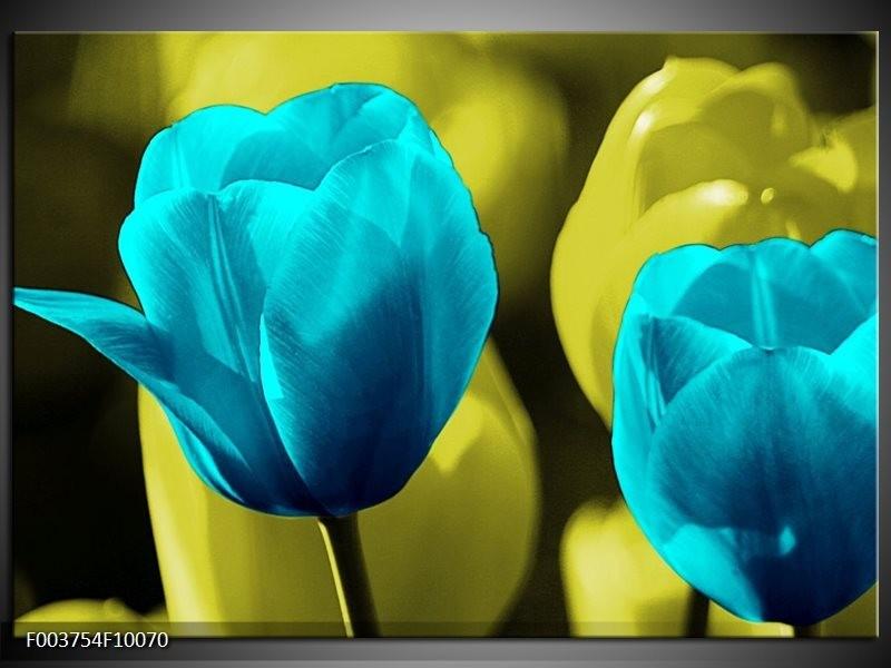 Glas schilderij Tulp | Blauw, Zwart, Groen