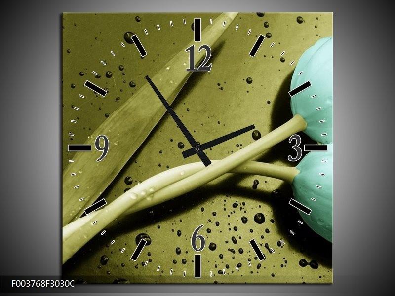 Wandklok op Canvas Tulp | Kleur: Blauw, Zwart, Groen | F003768C