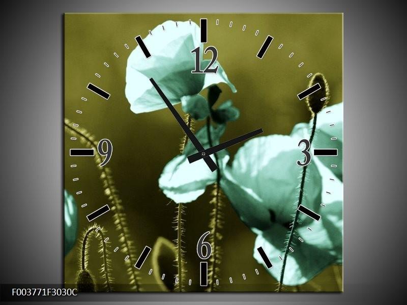 Wandklok op Canvas Klaproos   Kleur: Blauw, Zwart, Groen   F003771C