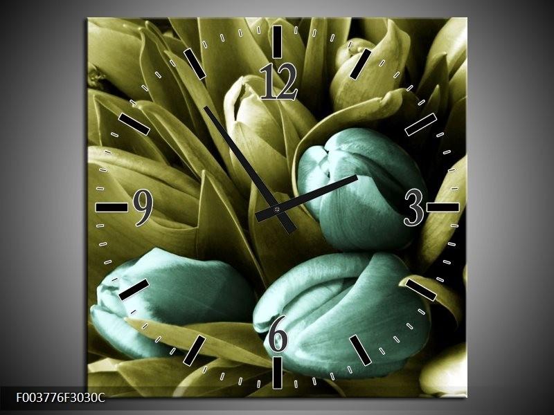 Wandklok op Canvas Tulp | Kleur: Blauw, Zwart, Groen | F003776C