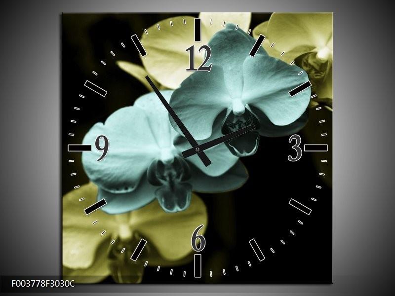 Wandklok op Canvas Orchidee | Kleur: Blauw, Zwart, Groen | F003778C