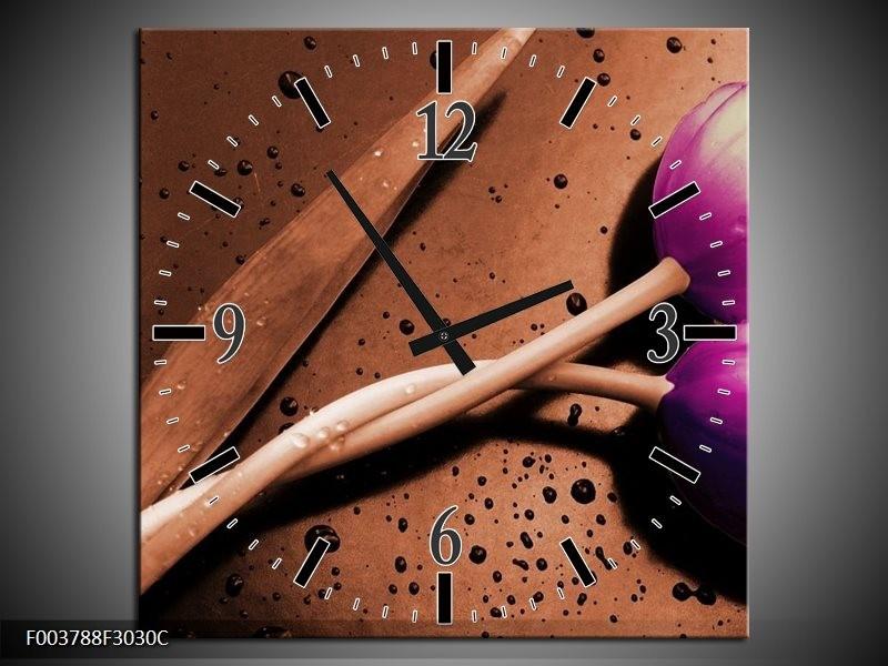 Wandklok op Canvas Tulp | Kleur: Paars, Bruin, Wit | F003788C