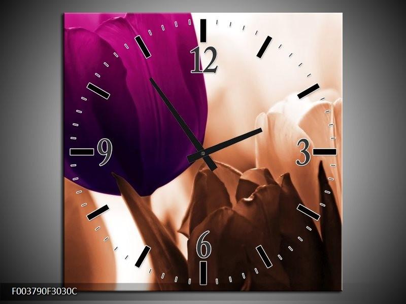 Wandklok op Canvas Tulp | Kleur: Paars, Bruin, Wit | F003790C