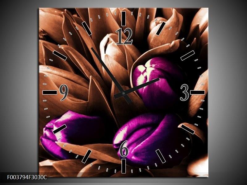 Wandklok op Canvas Tulp | Kleur: Paars, Bruin, Wit | F003794C