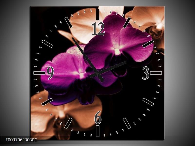 Wandklok op Canvas Orchidee | Kleur: Paars, Bruin, Wit | F003796C