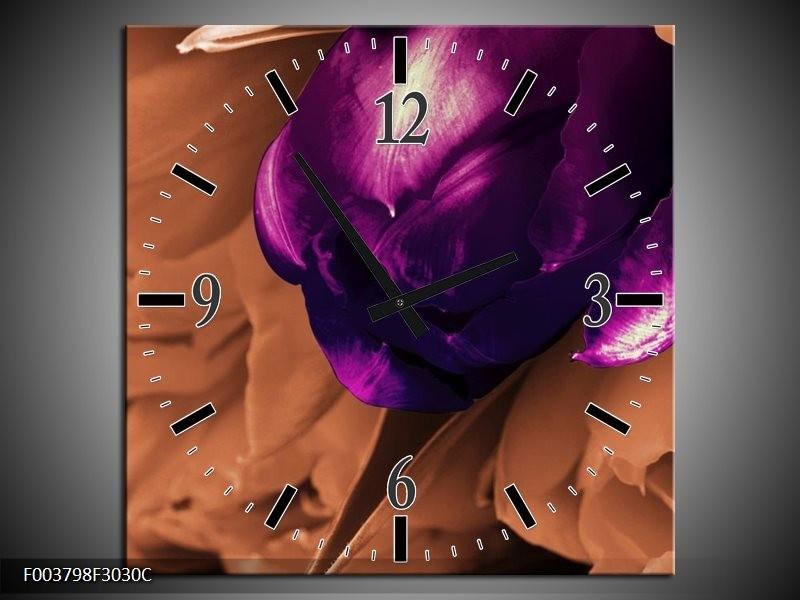 Wandklok op Canvas Tulp | Kleur: Paars, Bruin, Wit | F003798C
