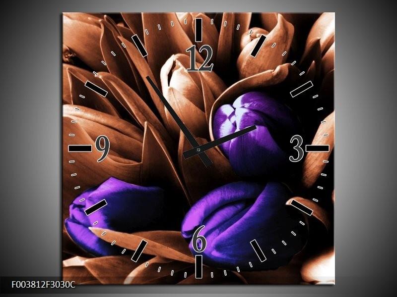 Wandklok op Canvas Tulp | Kleur: Paars, Bruin, Wit | F003812C