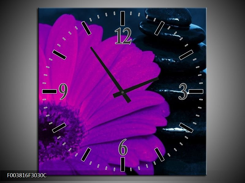 Wandklok op Canvas Bloem | Kleur: Paars, Bruin, Wit | F003816C