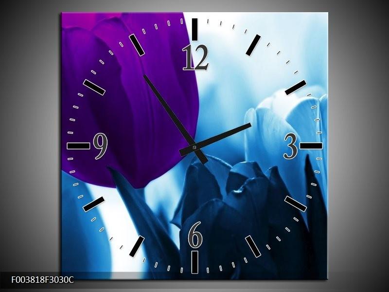 Wandklok op Canvas Tulp | Kleur: Paars, Blauw, Wit | F003818C