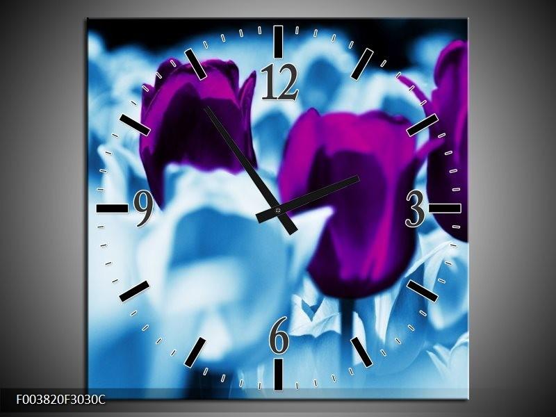 Wandklok op Canvas Tulp   Kleur: Paars, Blauw, Wit   F003820C