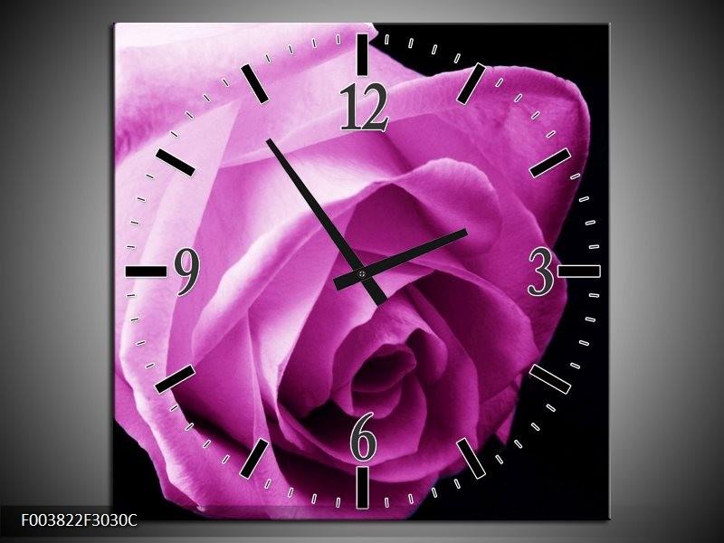 Wandklok op Canvas Roos | Kleur: Roze, Wit, Zwart | F003822C