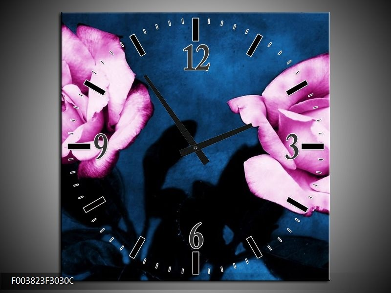 Wandklok op Canvas Roos | Kleur: Roze, Blauw, Zwart | F003823C