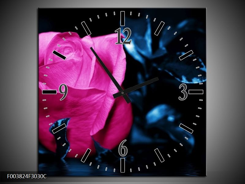 Wandklok op Canvas Roos | Kleur: Roze, Blauw, Zwart | F003824C