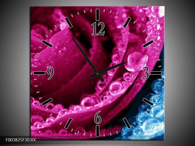Wandklok op Canvas Roos   Kleur: Roze, Blauw   F003825C