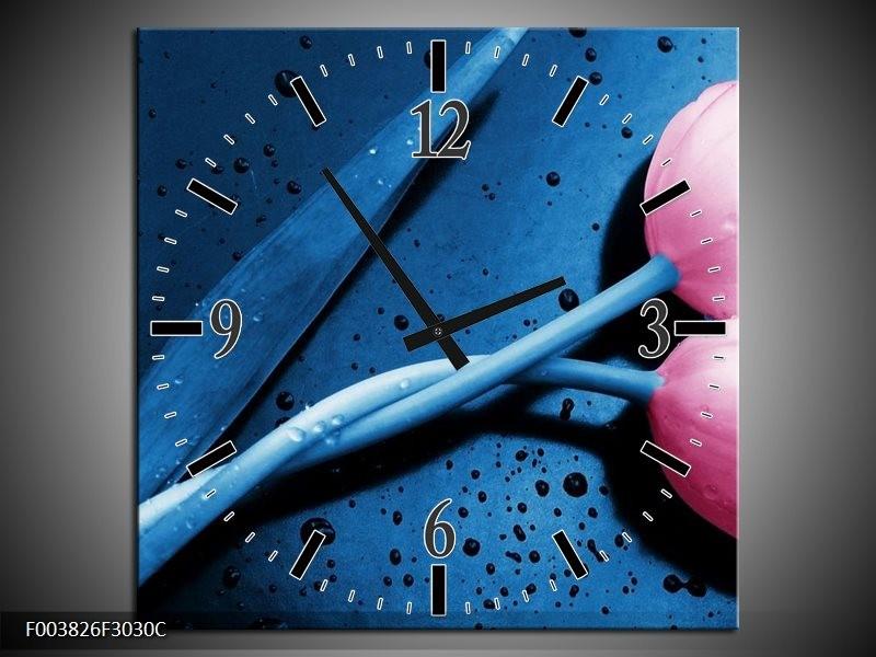 Wandklok op Canvas Tulp | Kleur: Roze, Blauw | F003826C