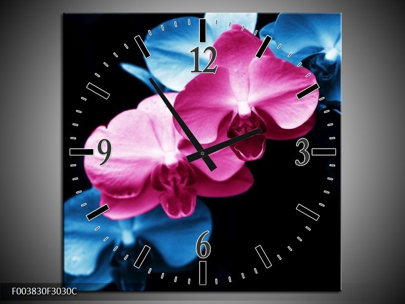 Wandklok op Canvas Tulp | Kleur: Roze, Blauw, Zwart | F003830C