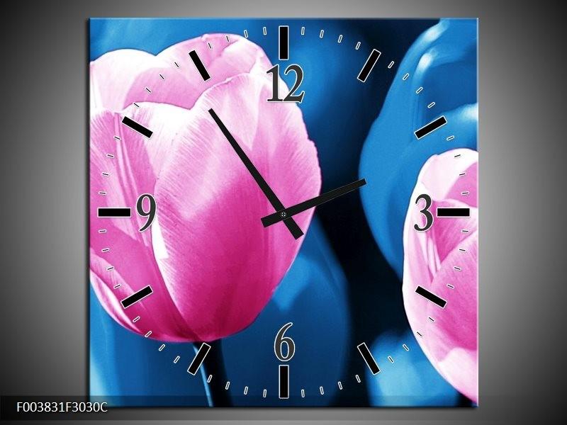 Wandklok op Canvas Tulp   Kleur: Roze, Blauw   F003831C
