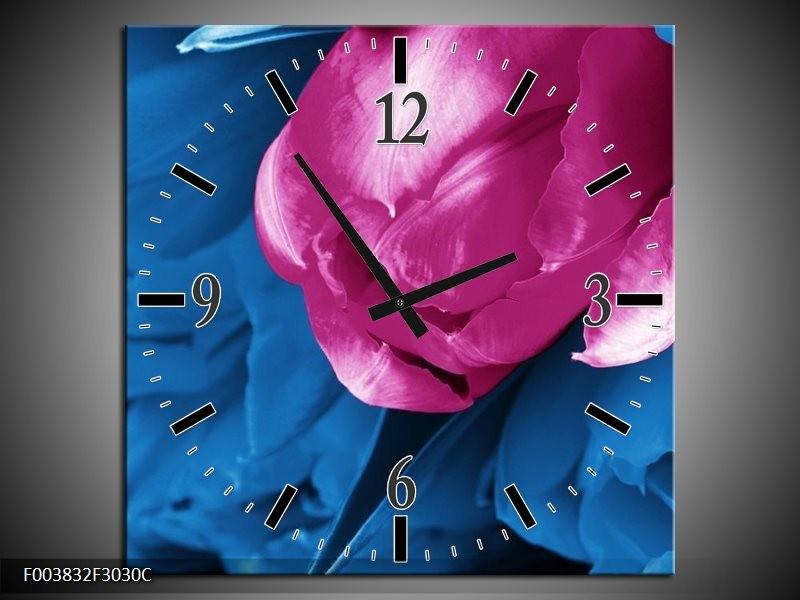 Wandklok op Canvas Tulp | Kleur: Roze, Blauw | F003832C