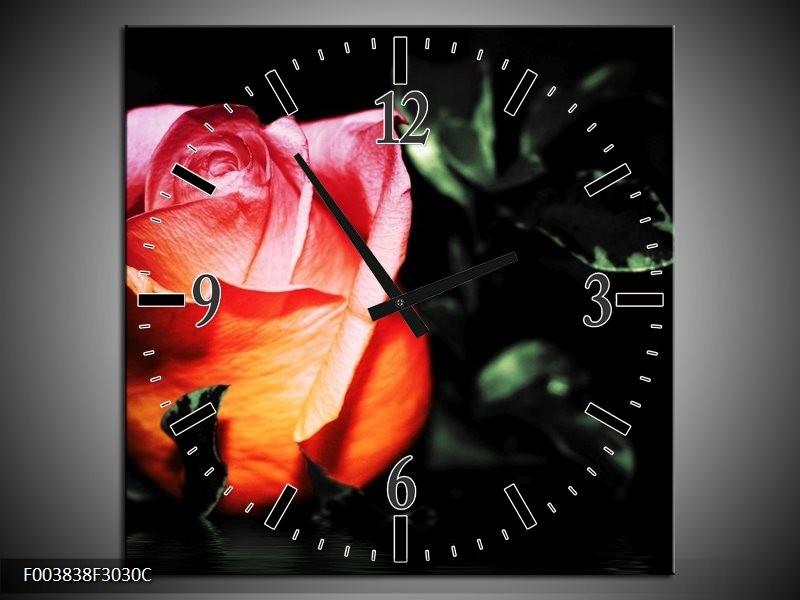 Wandklok op Canvas Roos | Kleur: Roze, Zwart, Oranje | F003838C