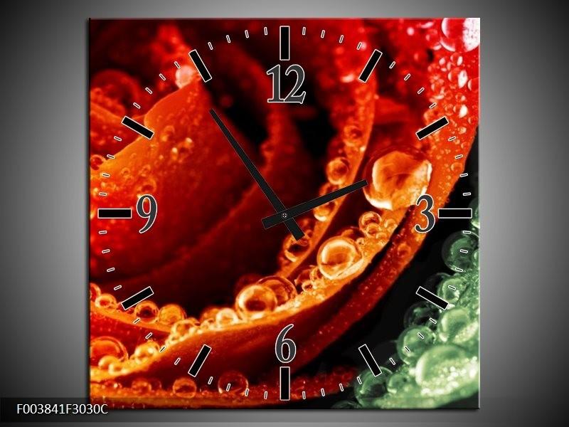 Wandklok op Canvas Roos | Kleur: Rood, Oranje, Groen | F003841C