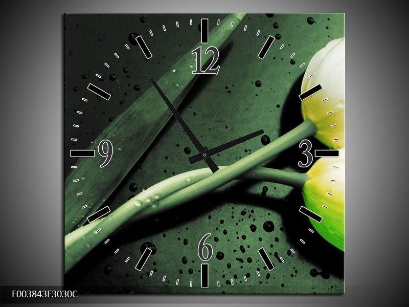 Wandklok op Canvas Tulp | Kleur: Groen, Geel, Zwart | F003843C