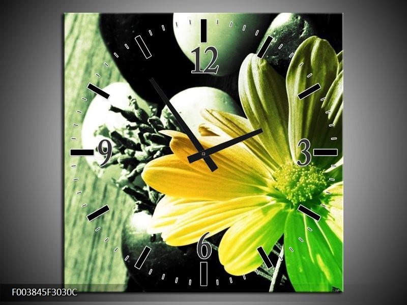 Wandklok op Canvas Bloem | Kleur: Geel, Groen, Zwart | F003845C