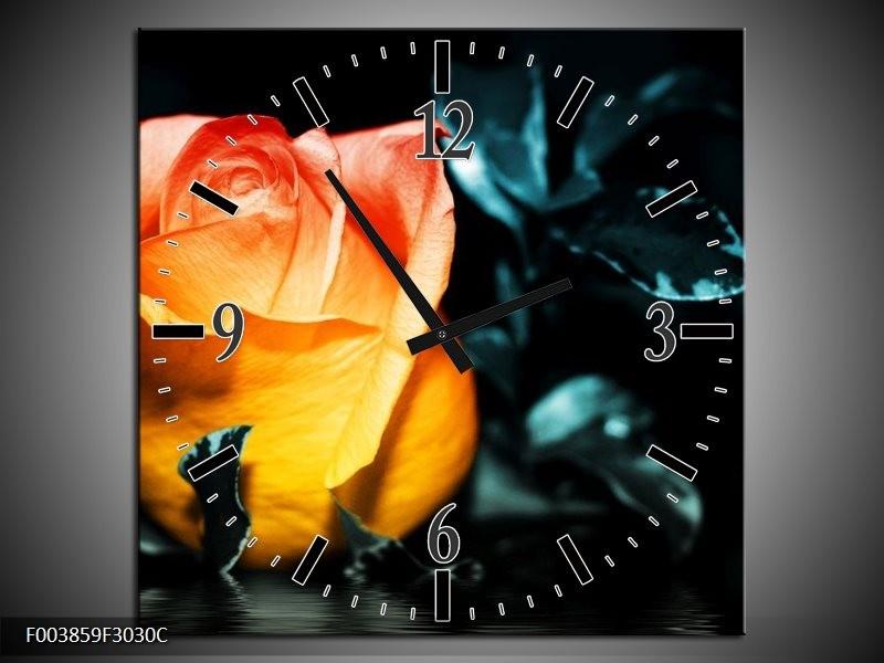Wandklok op Canvas Roos | Kleur: Geel, Oranje, Zwart | F003859C