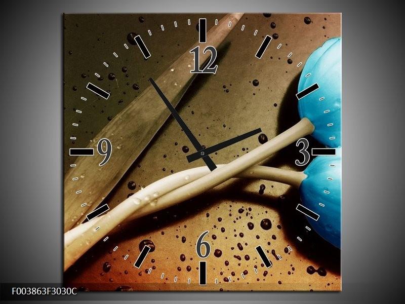 Wandklok op Canvas Tulp | Kleur: Blauw, Wit, Bruin | F003863C