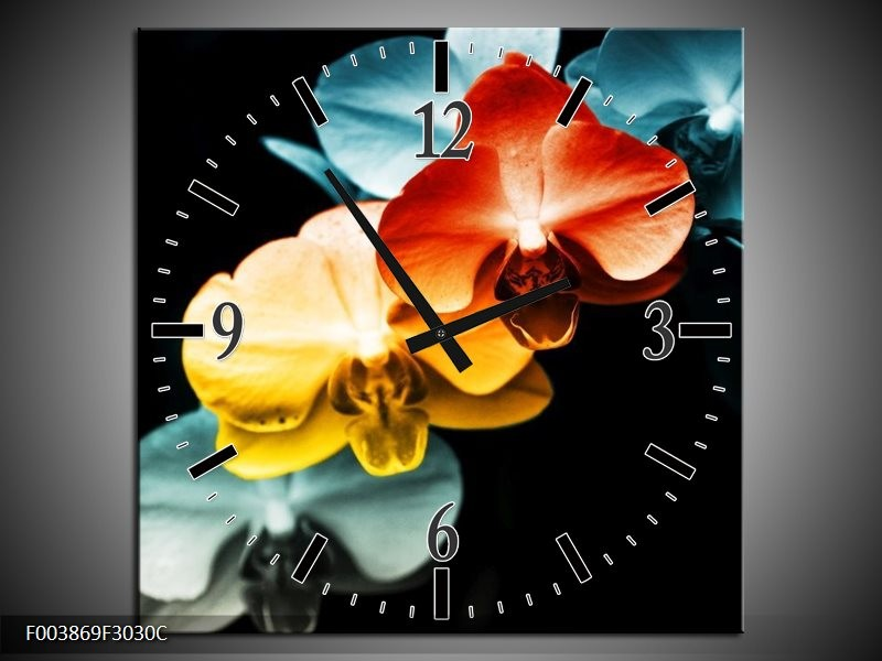 Wandklok op Canvas Orchidee | Kleur: Oranje, Rood, Blauw | F003869C