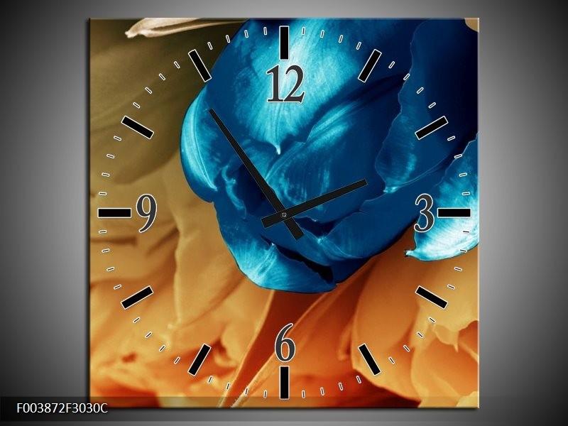 Wandklok op Canvas Tulp | Kleur: Blauw, Grijs | F003872C