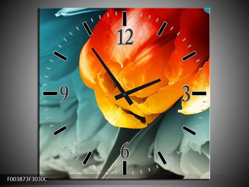Wandklok op Canvas Tulp | Kleur: Oranje, Rood, Blauw | F003873C