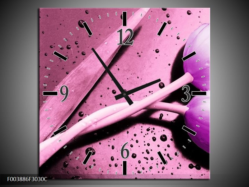 Wandklok op Canvas Tulp | Kleur: Paars, Wit, Zwart | F003886C