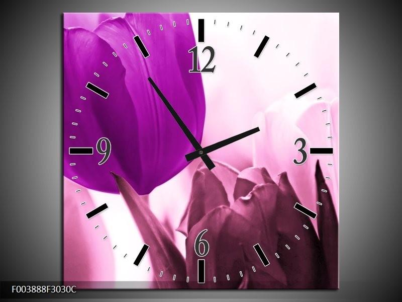 Wandklok op Canvas Tulp | Kleur: Paars, Wit, Zwart | F003888C