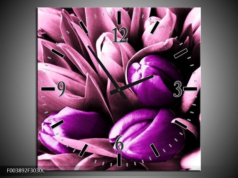 Wandklok op Canvas Tulp | Kleur: Paars, Wit, Zwart | F003892C