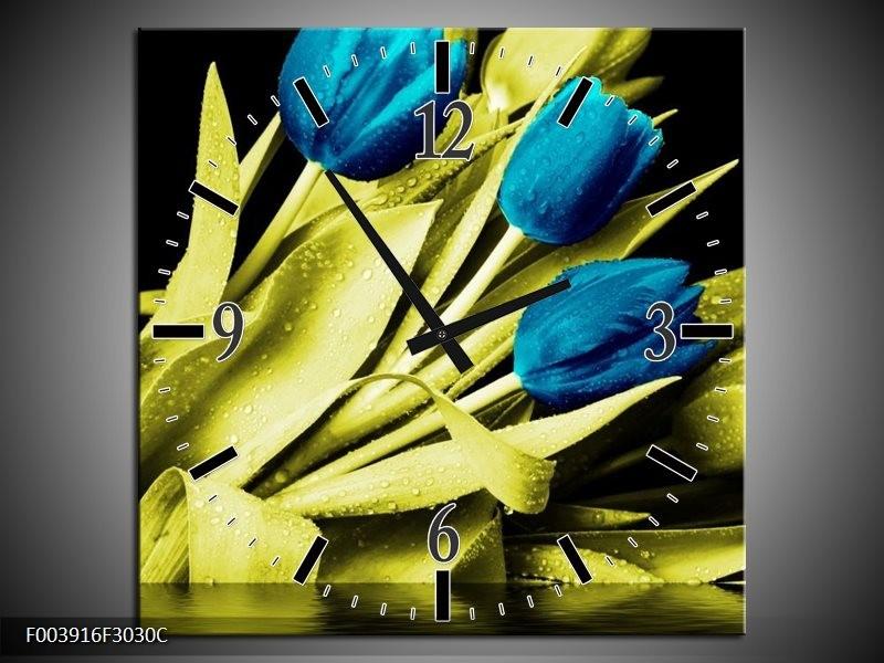 Wandklok op Canvas Tulp | Kleur: Blauw, Groen, Zwart | F003916C