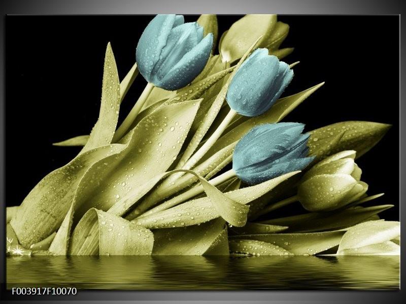 Glas schilderij Tulp | Blauw, Groen, Zwart