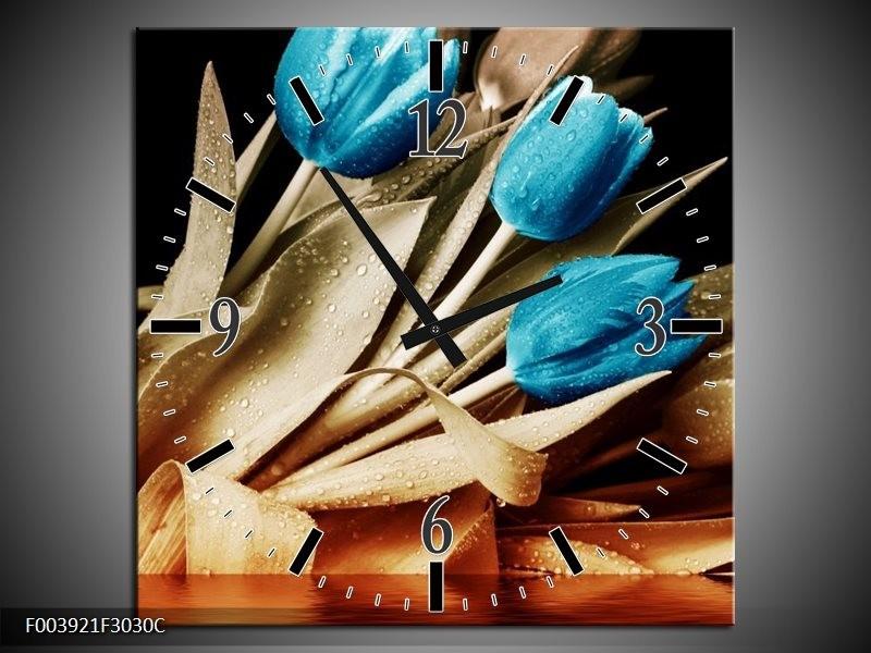 Wandklok op Canvas Tulp | Kleur: Blauw, Zwart, Bruin | F003921C