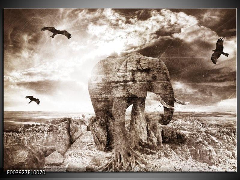 Glas schilderij olifant grijs wit groepart for Schilderij olifant