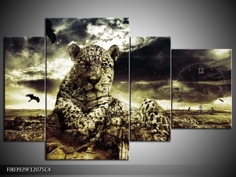 Klok schilderij Natuur | Geel, Groen, Zwart | 120x75cm 4Luik