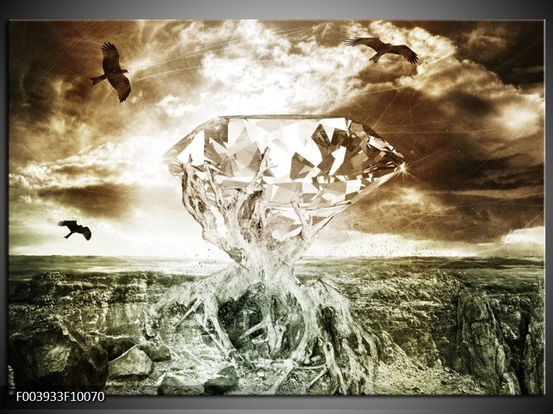 Glas schilderij Steen   Groen, Bruin, Wit