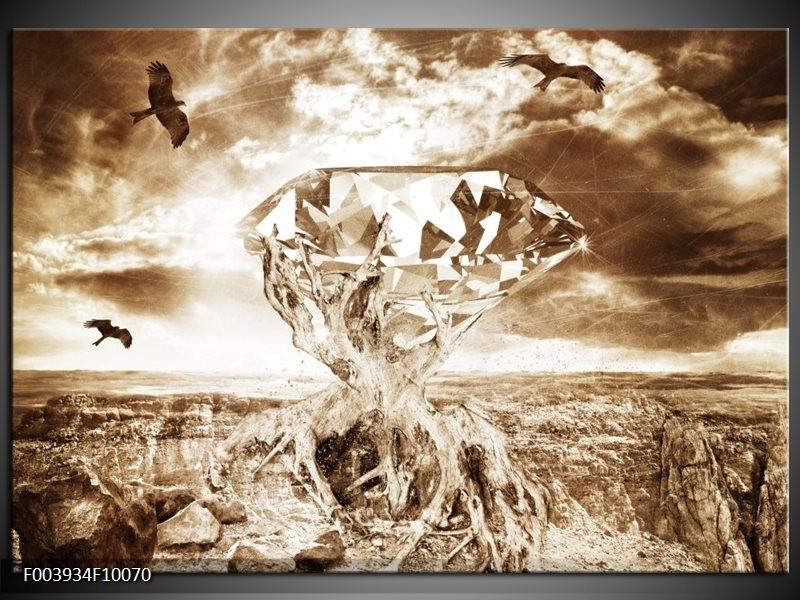 Glas schilderij Steen | Bruin, Wit