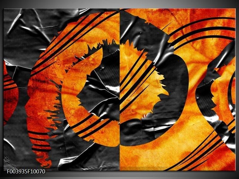 Glas schilderij Abstract   Geel, Oranje, Grijs