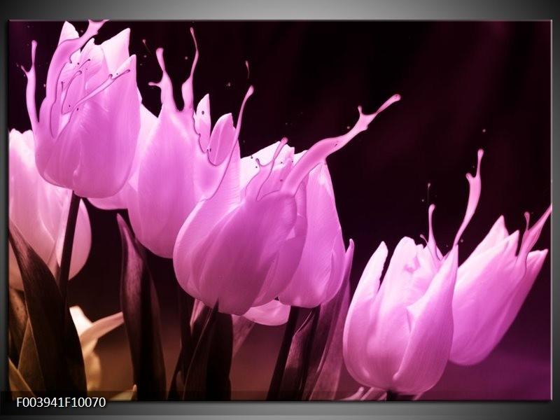 Foto canvas schilderij Tulp | Roze, Zwart