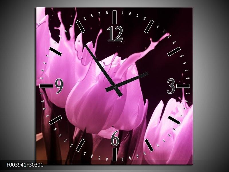 Wandklok op Canvas Tulp | Kleur: Roze, Zwart | F003941C