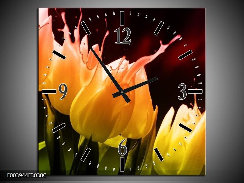 Wandklok op Canvas Tulp | Kleur: Oranje, Geel, Zwart | F003944C