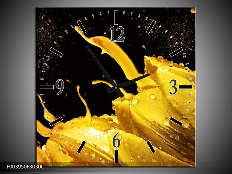 Wandklok op Canvas Tulp | Kleur: Geel, Goud, Zwart | F003950C