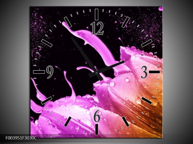 Wandklok op Canvas Tulp | Kleur: Oranje, Zwart, Roze | F003951C