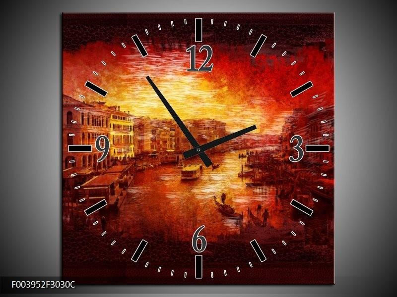 Wandklok op Canvas Steden | Kleur: Rood, Geel, Zwart | F003952C