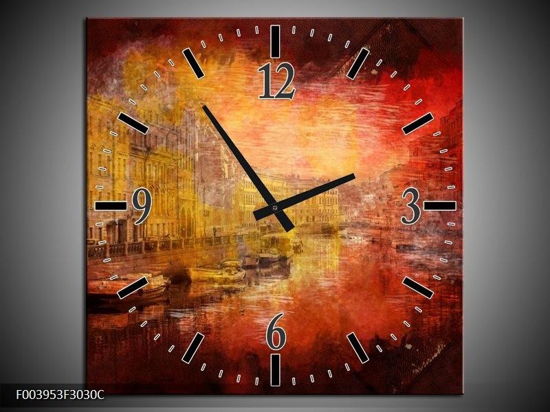 Wandklok op Canvas Steden | Kleur: Rood, Geel, Zwart | F003953C