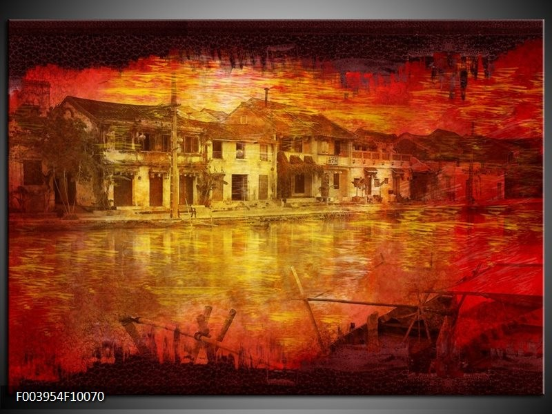 Glas schilderij Steden   Rood, Geel, Zwart